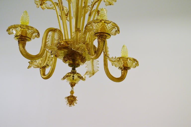 Italian Venetian Amber Colored Glass Chandelier For Sale