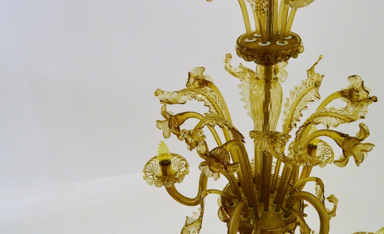 Venetian Amber Colored Glass Chandelier For Sale 1