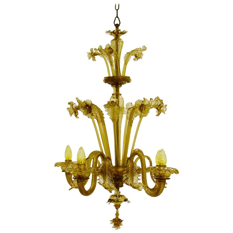 Venetian Amber Colored Glass Chandelier For Sale