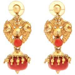 Venetian Antique Coral and Gold Earrings
