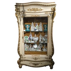 Venetian Antique Display Cabinet/Vitrine, Giltwood and Parcel Cream Paint