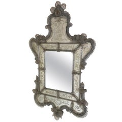 Venetian Antique Ornate Etched Decorative Mirror