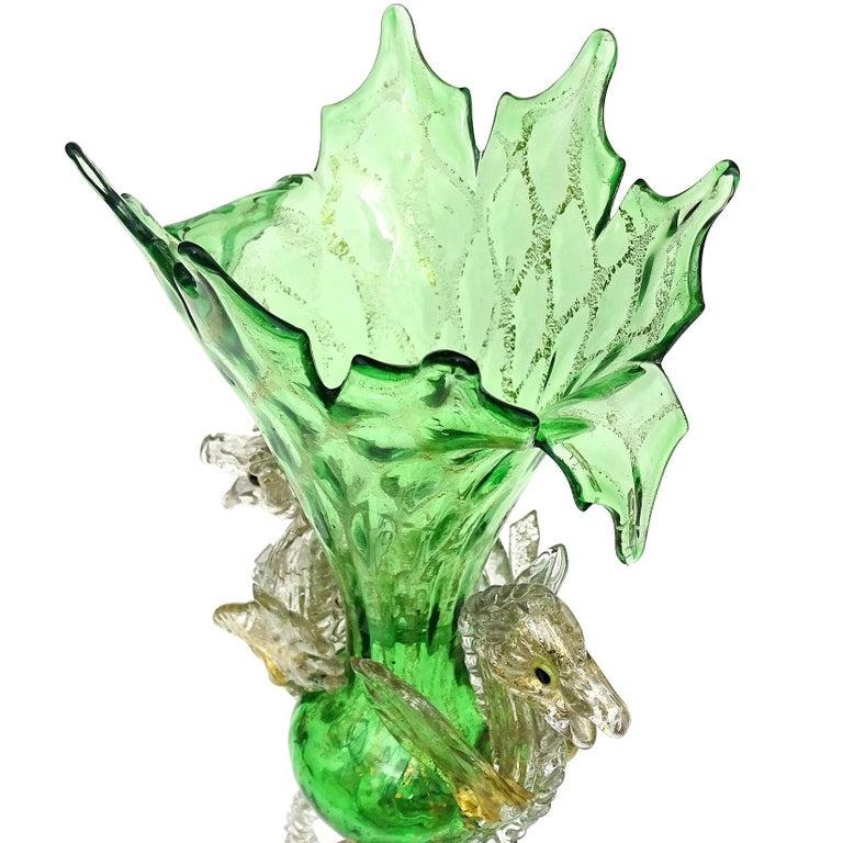 Victorian Venetian Antique Ornate Green Gold Flecks Pegasus Italian Art Glass Flower Vase For Sale