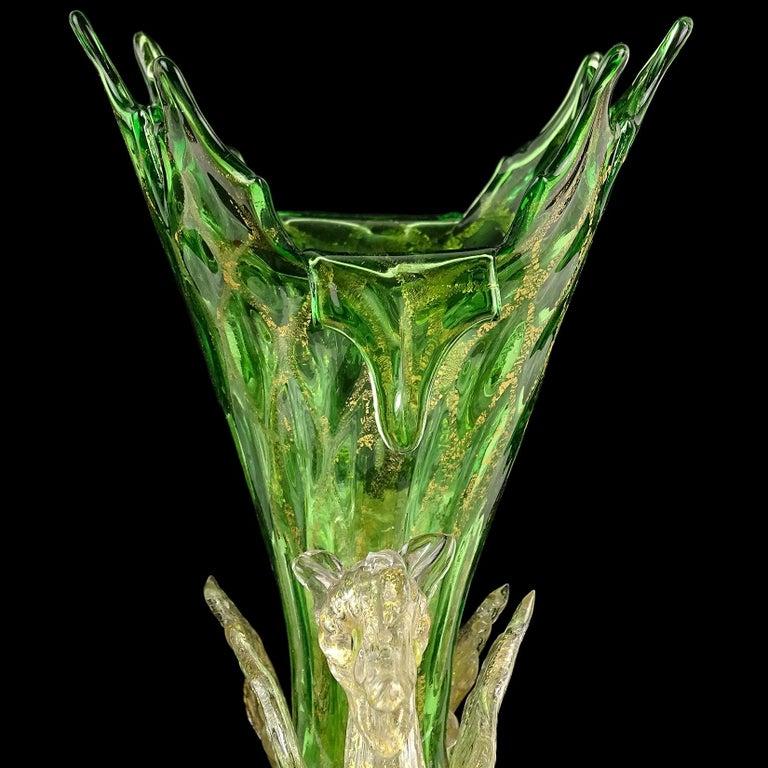 Hand-Crafted Venetian Antique Ornate Green Gold Flecks Pegasus Italian Art Glass Flower Vase For Sale