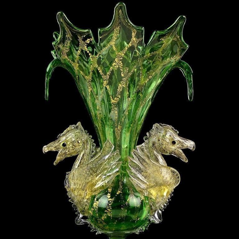 19th Century Venetian Antique Ornate Green Gold Flecks Pegasus Italian Art Glass Flower Vase For Sale