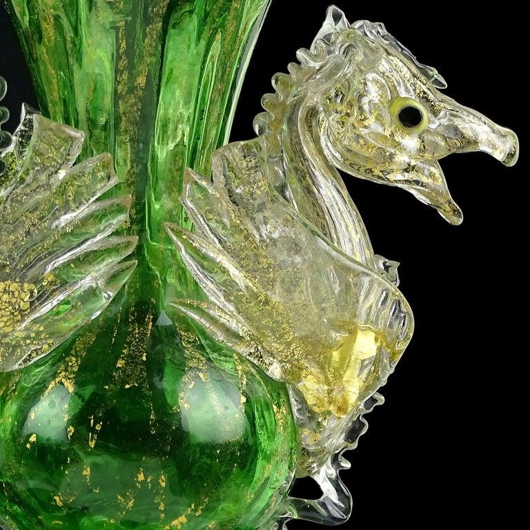 Venetian Antique Ornate Green Gold Flecks Pegasus Italian Art Glass Flower Vase For Sale 1