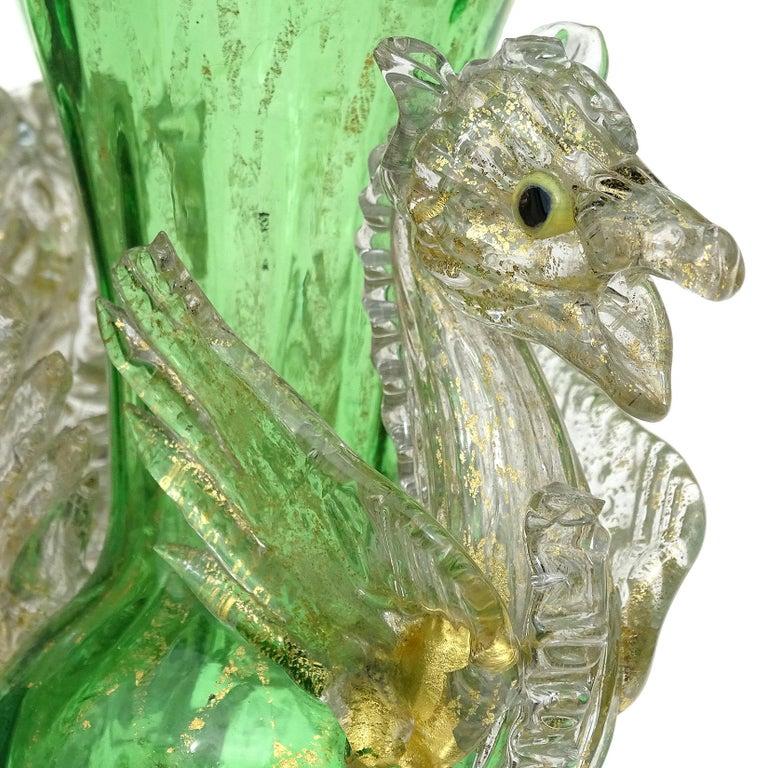 Venetian Antique Ornate Green Gold Flecks Pegasus Italian Art Glass Flower Vase For Sale 2
