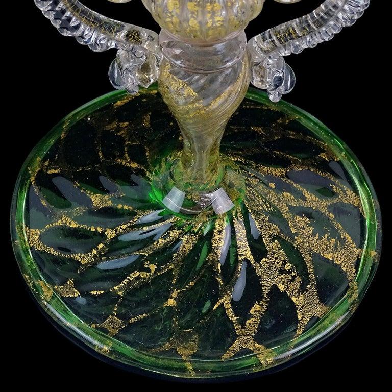 Venetian Antique Ornate Green Gold Flecks Pegasus Italian Art Glass Flower Vase For Sale 3