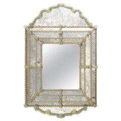 Venetian Arched Top Mirror with Barley Twist Glass Decoration, circa 1950