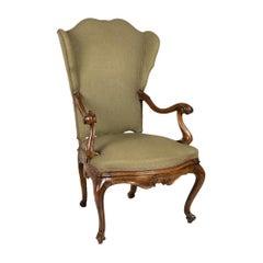 Venetian Armchair, Walnut Wood, 1850s