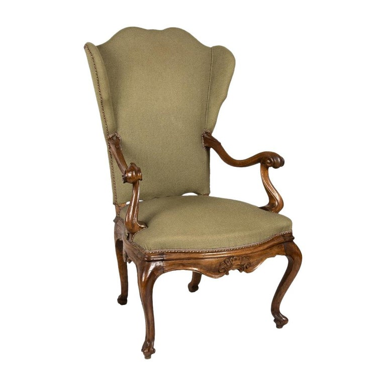 Venetian Armchair, Walnut Wood, 1850s