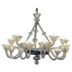 Venetian Art Deco Murano Glass Chandelier
