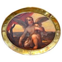 Venetian Baroque Kneeling Cupid Oil Painting