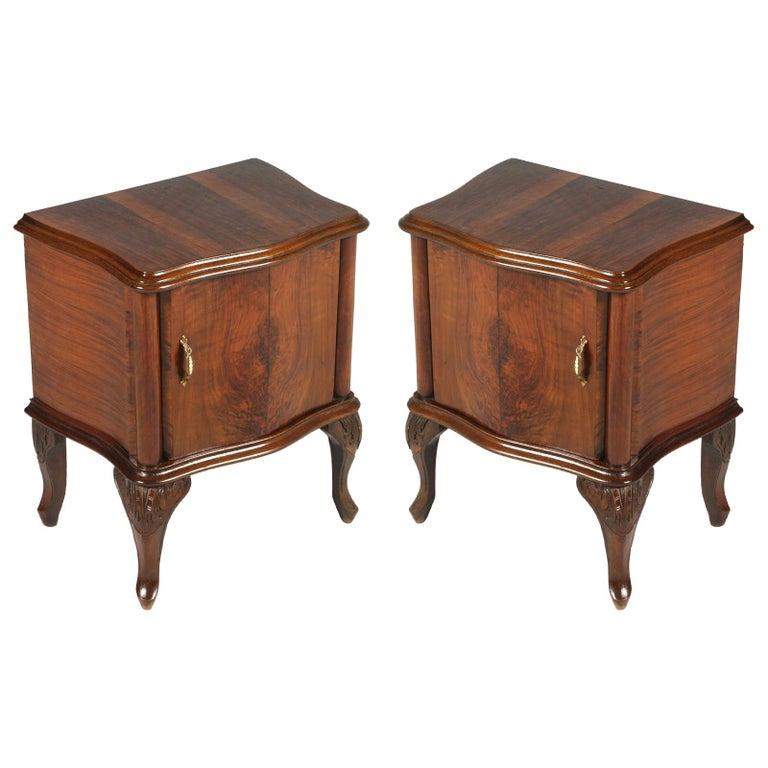 buy online 77d2d 175b3 Venetian Baroque Nightstands, Hand Carved & Veneer Walnut, Restored  Wax-Polished