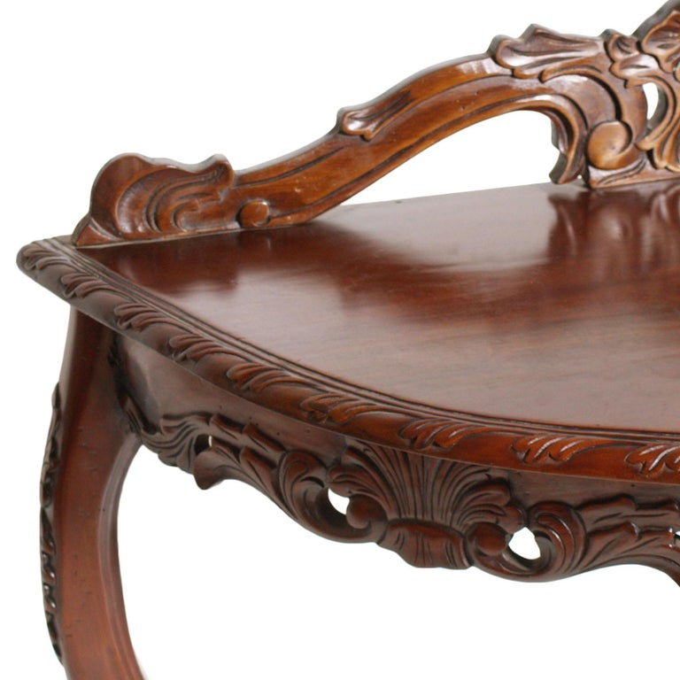 Italian Venetian Demilune Console, Hand Carved Solid Mahogany, Restored For Sale