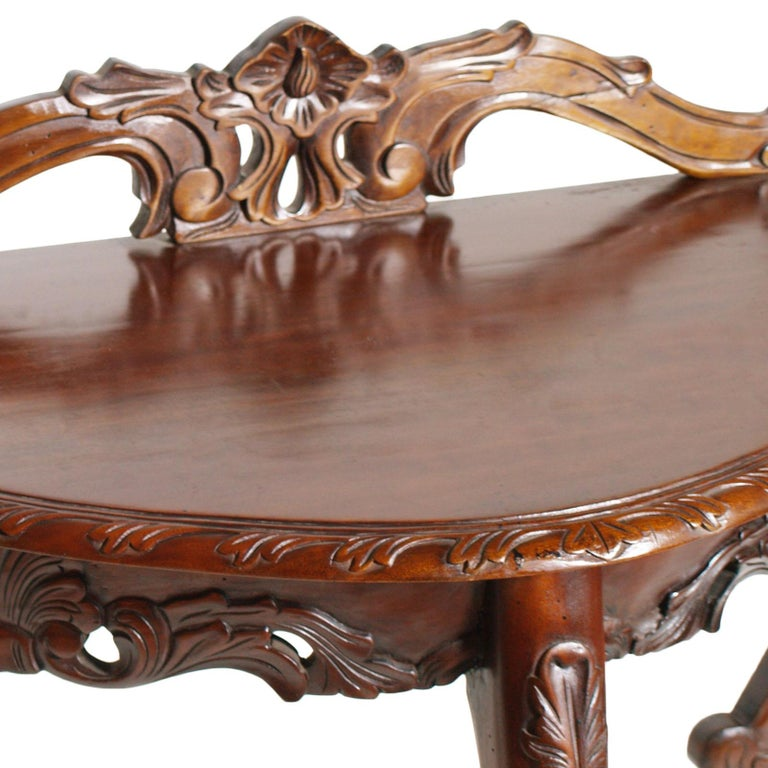 Hand-Carved Venetian Demilune Console, Hand Carved Solid Mahogany, Restored For Sale