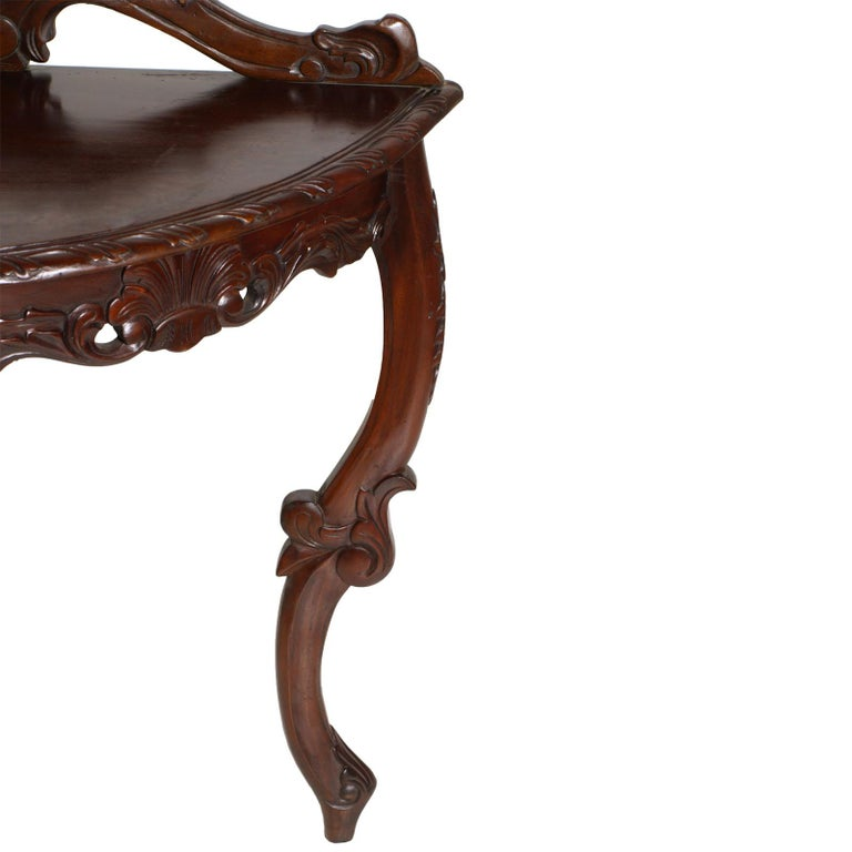 Venetian Demilune Console, Hand Carved Solid Mahogany, Restored For Sale 2