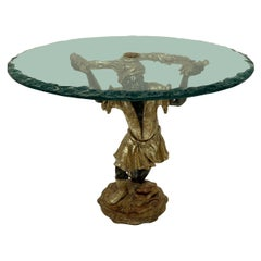 Venetian Blackamoor Side Table with Glass Top