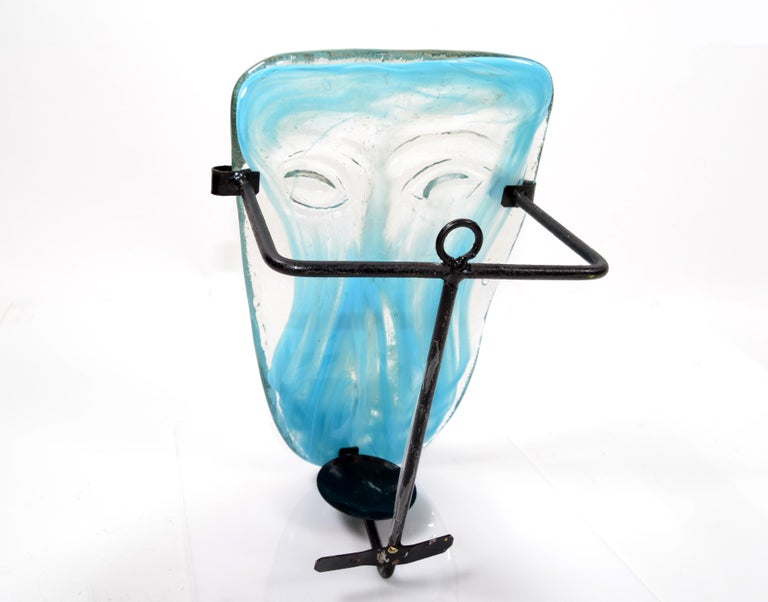 Venetian Blown Turquoise Murano Glass Face Masks Wall Mounted Candleholder For Sale 3