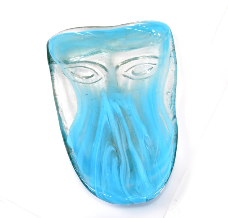Venetian Blown Turquoise Murano Glass Face Masks Wall Mounted Candleholder For Sale 4