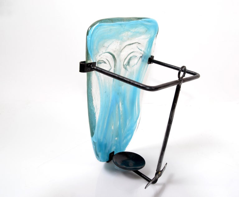 Venetian Blown Turquoise Murano Glass Face Masks Wall Mounted Candleholder In Good Condition For Sale In North Miami, FL