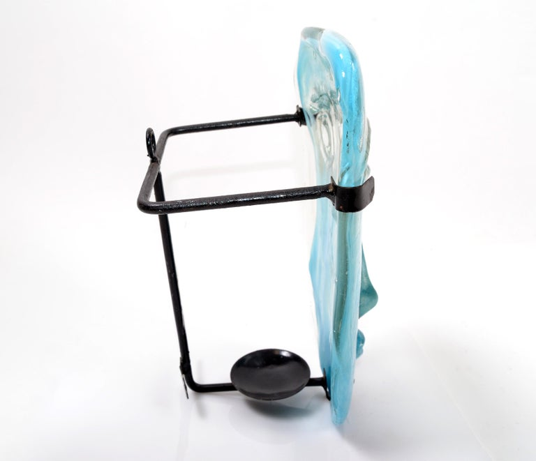 Blown Glass Venetian Blown Turquoise Murano Glass Face Masks Wall Mounted Candleholder For Sale