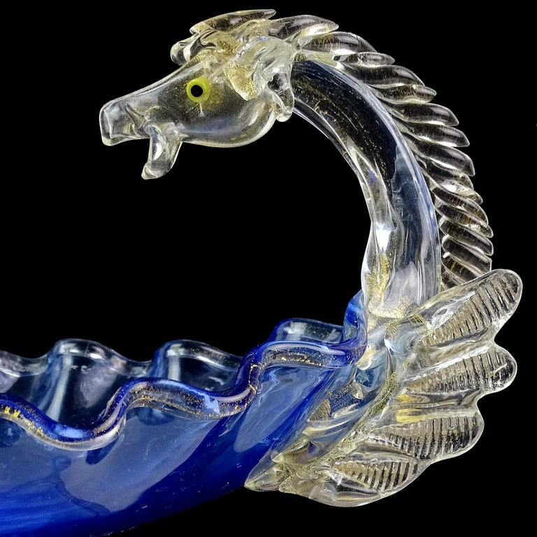 Hand-Crafted Venetian Blue Gold Flecks Pegasus Italian Art Glass Centrepiece Compote Bowl For Sale