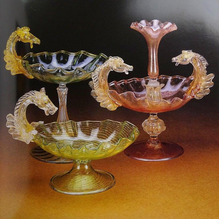 20th Century Venetian Blue Gold Flecks Pegasus Italian Art Glass Centrepiece Compote Bowl For Sale