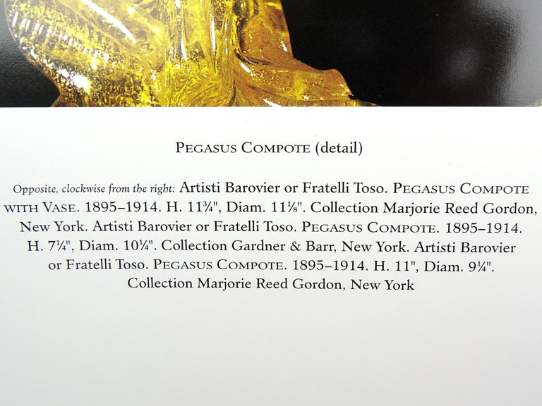Venetian Blue Gold Flecks Pegasus Italian Art Glass Centrepiece Compote Bowl For Sale 1
