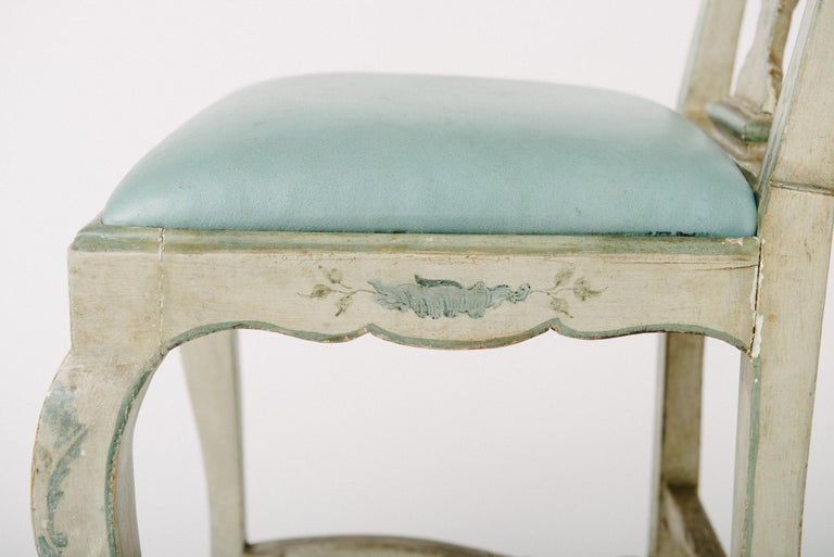 Venetian Blue Leather and Wood Chair For Sale 1