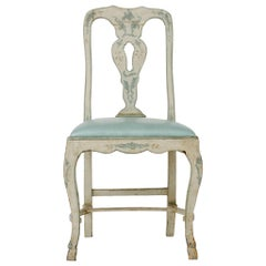 Venetian Blue Leather and Wood Chair