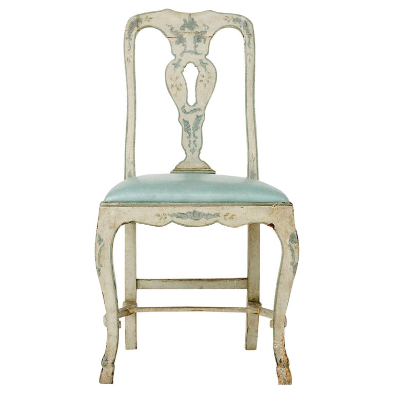 Venetian Blue Leather and Wood Chair For Sale