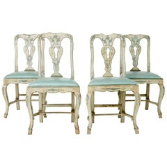 Venetian Blue Leather and Wood Chairs
