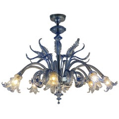 Venetian Blue Murano Glass Chandelier by Venini, circa 1940
