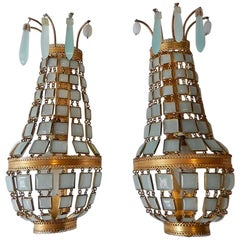 Venetian Blue Opaline Bronze Squares Empire Sconces, circa 1930