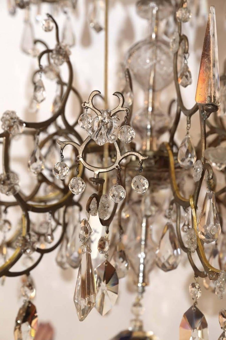 Italian Venetian Bronze and Crystal Chandelier, with Two-Tiers of Lights For Sale