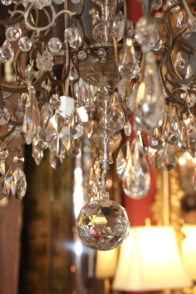 19th Century Venetian Bronze and Crystal Chandelier, with Two-Tiers of Lights For Sale