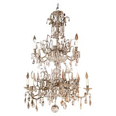 Venetian Bronze and Crystal Chandelier, with Two-Tiers of Lights