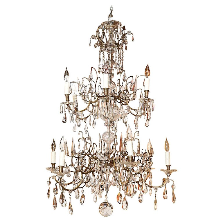 Venetian Bronze and Crystal Chandelier, with Two-Tiers of Lights For Sale