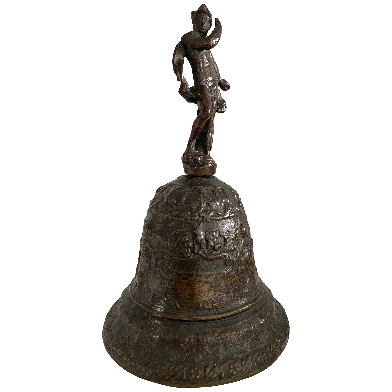 Venetian Bronze Hand Bell with God Mercury, 16th Century