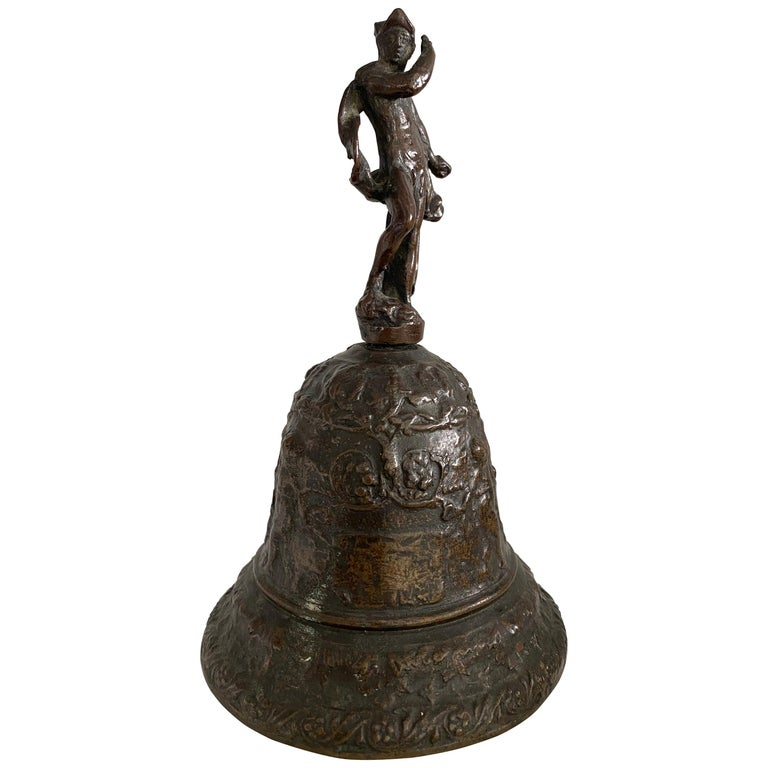 Venetian Bronze Hand Bell with God Mercury, 16th Century For Sale