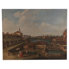 Venetian Canal and Town Oil Painting on Canvas