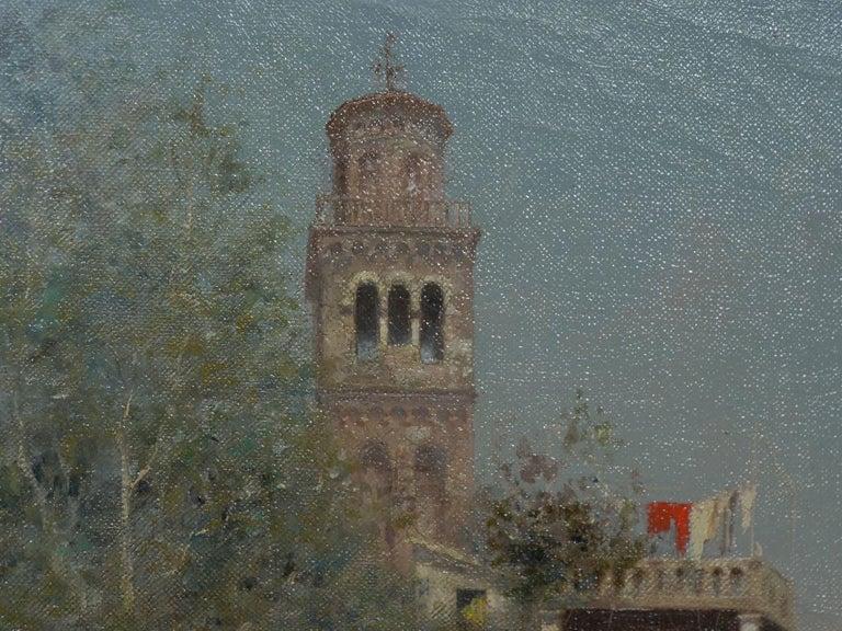 """Venetian Canal"" Antique Oil Painting by Warren Shepherd 'American, 1858-1937' For Sale 4"