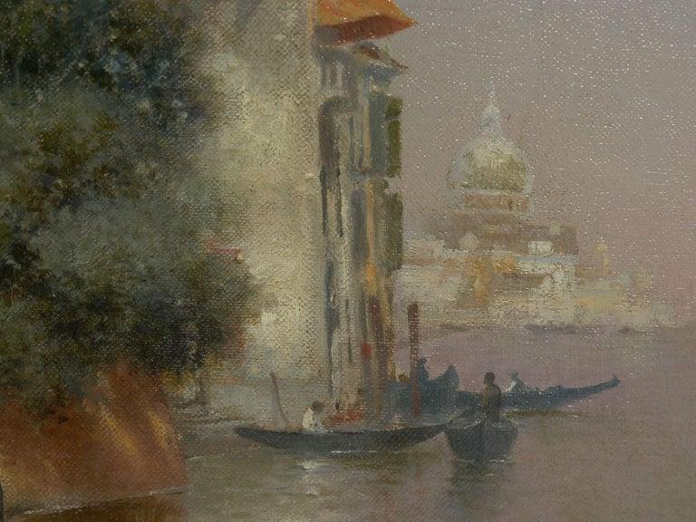 """Venetian Canal"" Antique Oil Painting by Warren Shepherd 'American, 1858-1937' For Sale 6"