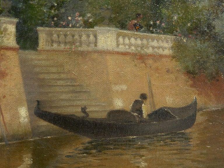 """Venetian Canal"" Antique Oil Painting by Warren Shepherd 'American, 1858-1937' For Sale 7"