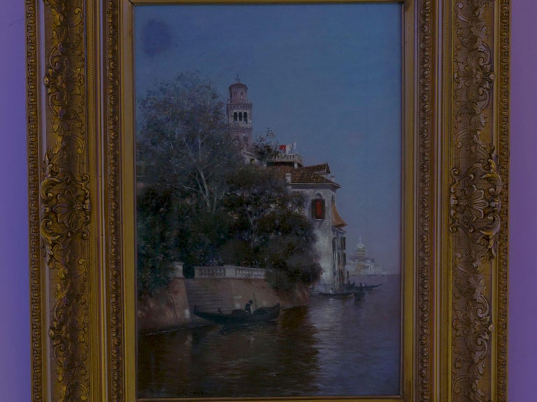 """Venetian Canal"" Antique Oil Painting by Warren Shepherd 'American, 1858-1937' For Sale 11"