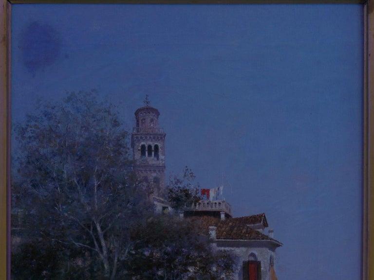 """Venetian Canal"" Antique Oil Painting by Warren Shepherd 'American, 1858-1937' For Sale 12"