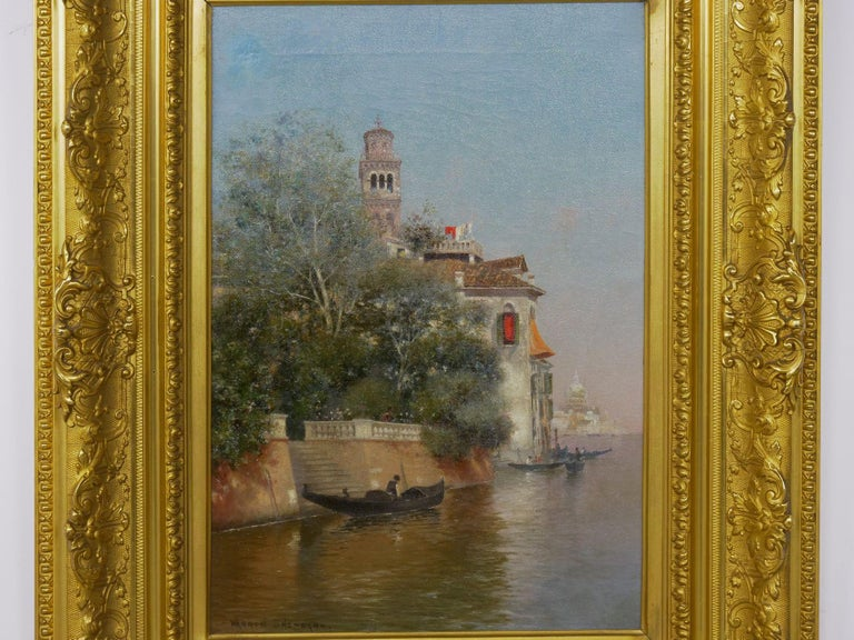 An exquisite little scene that captures a summer day with a view of the canals from Rio del Giardini in Venice. A gondolier has pulled his boat up along the stone bank, perhaps pausing to collect a passenger from the descending steps. The terrace