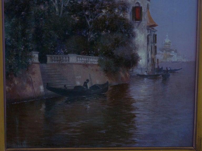 """Venetian Canal"" Antique Oil Painting by Warren Shepherd 'American, 1858-1937' For Sale 13"
