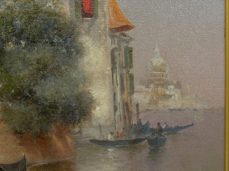 """""""Venetian Canal"""" Antique Oil Painting by Warren Shepherd 'American, 1858-1937' In Good Condition For Sale In Shippensburg, PA"""
